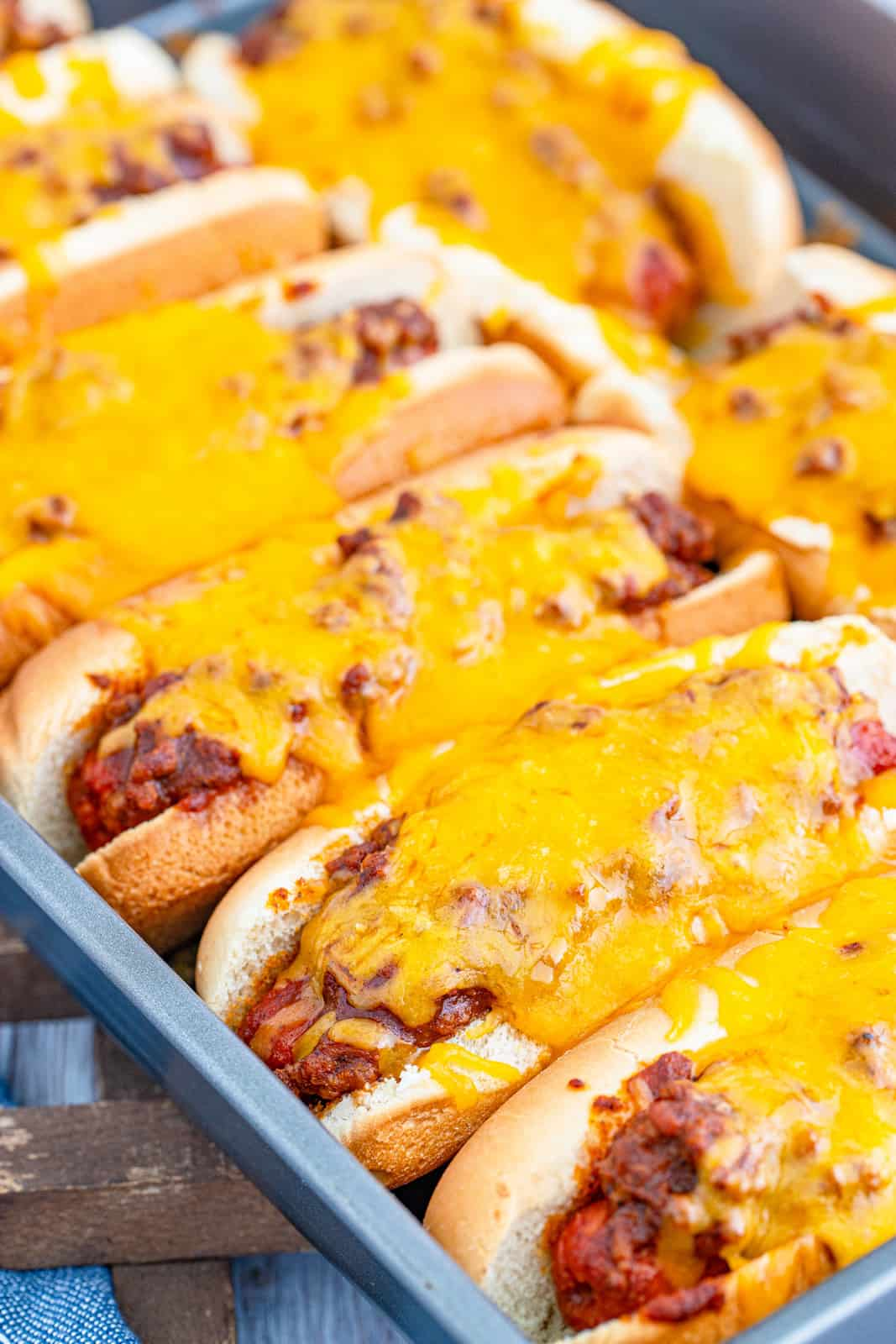 Finished hot dogs in pan