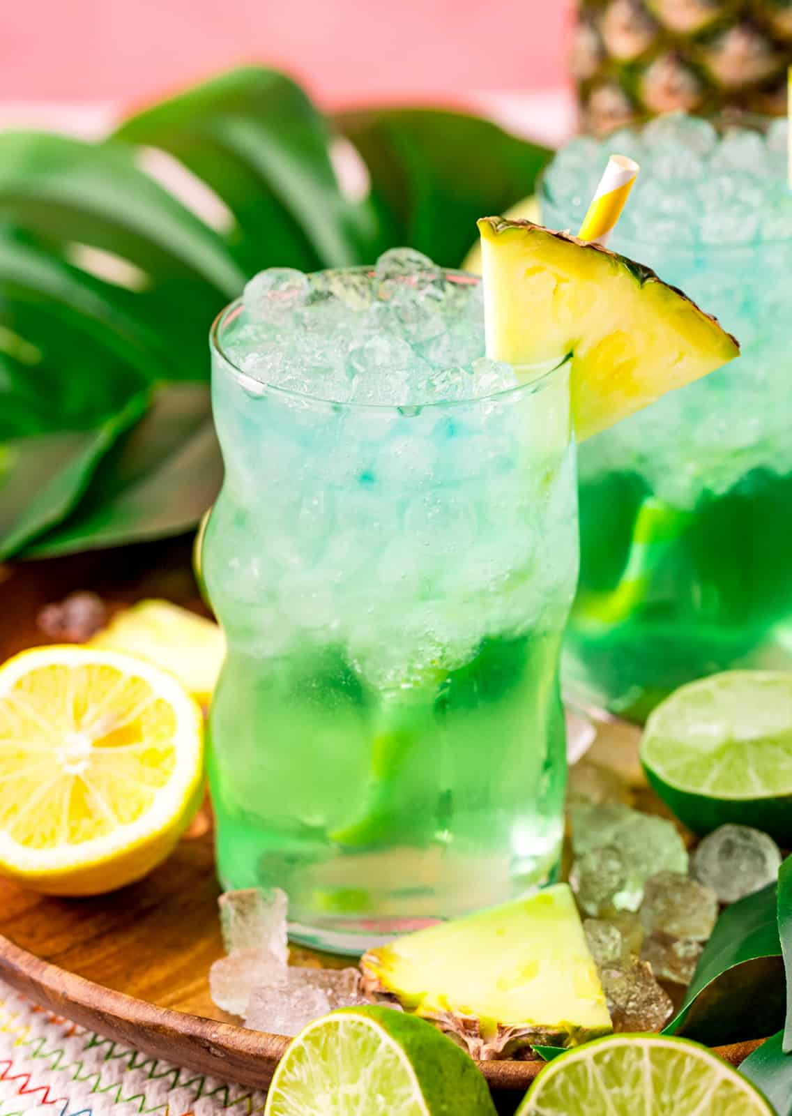 Baja Blast in glass with ice, straw and pineapple slice