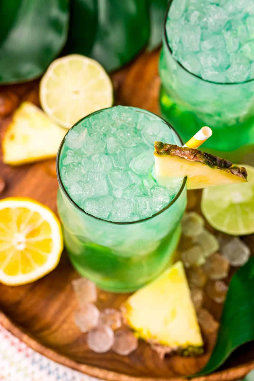 Overhead of Baja Blast Recipe with straw and pineapple slice
