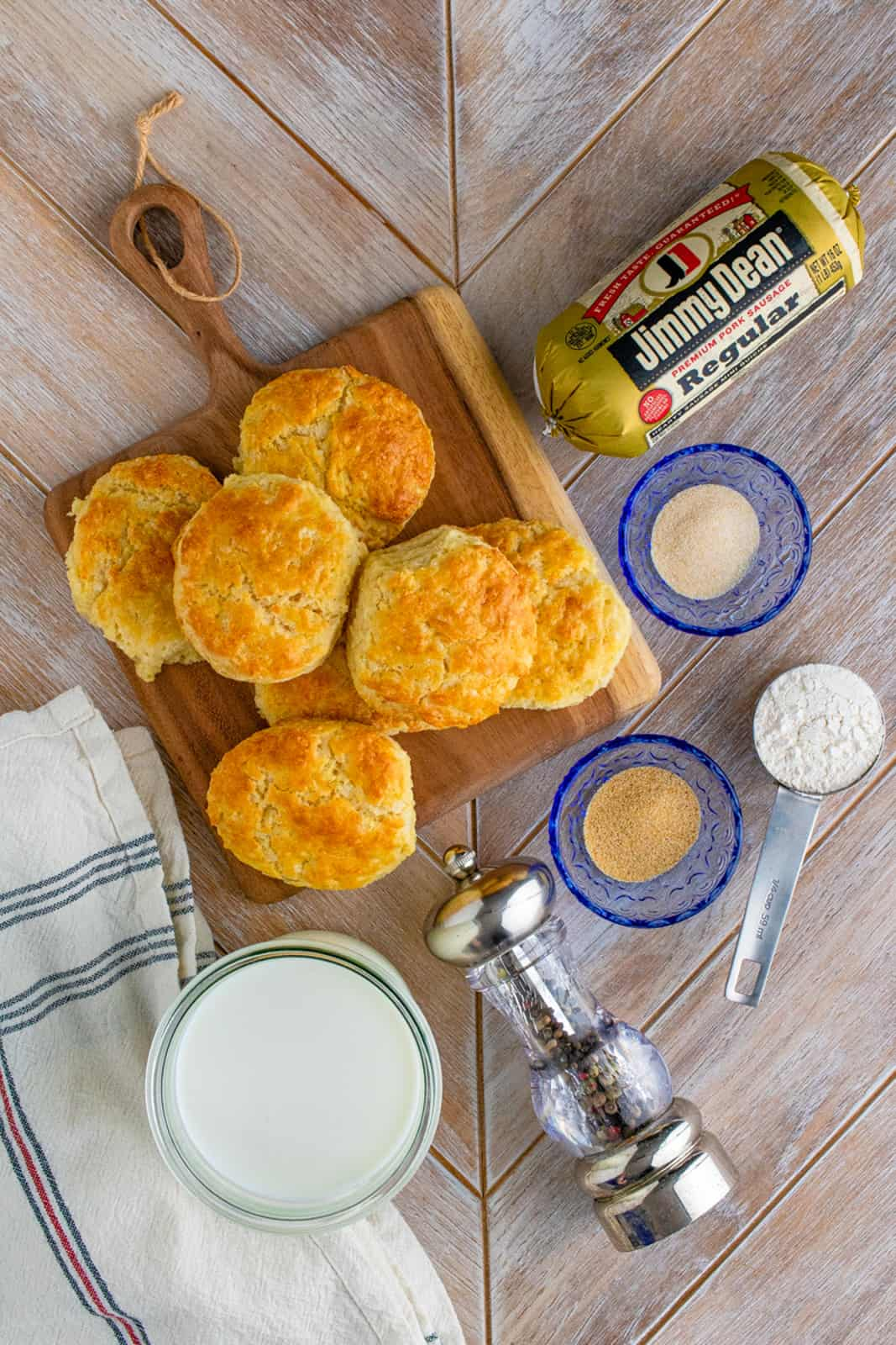 Ingredients needed to make a Homemade Biscuits and Gravy Recipe