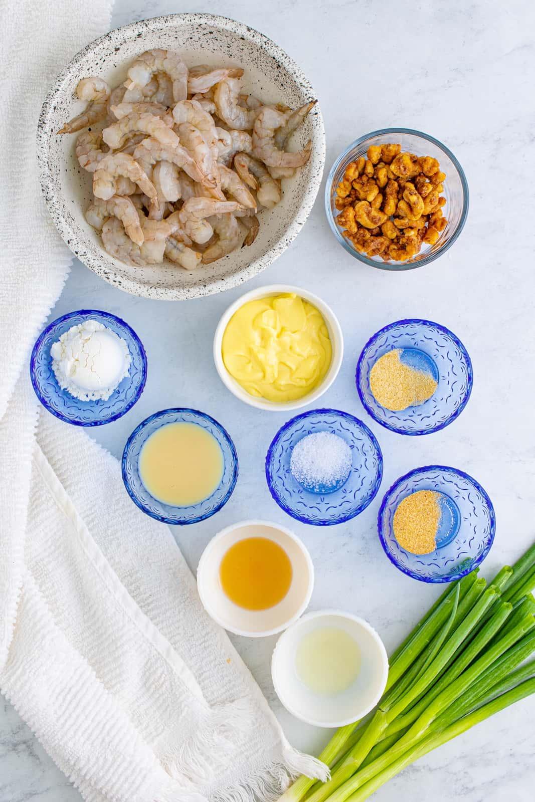 Ingredients needed for Honey Walnut Shrimp