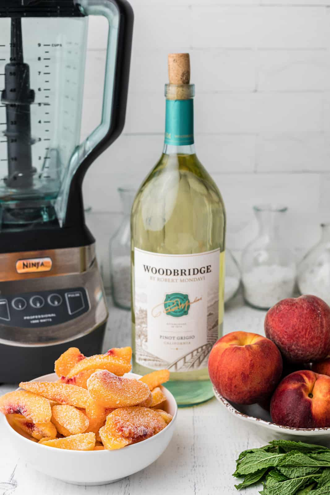 Ingredients needed to make Peach Wine Slushies