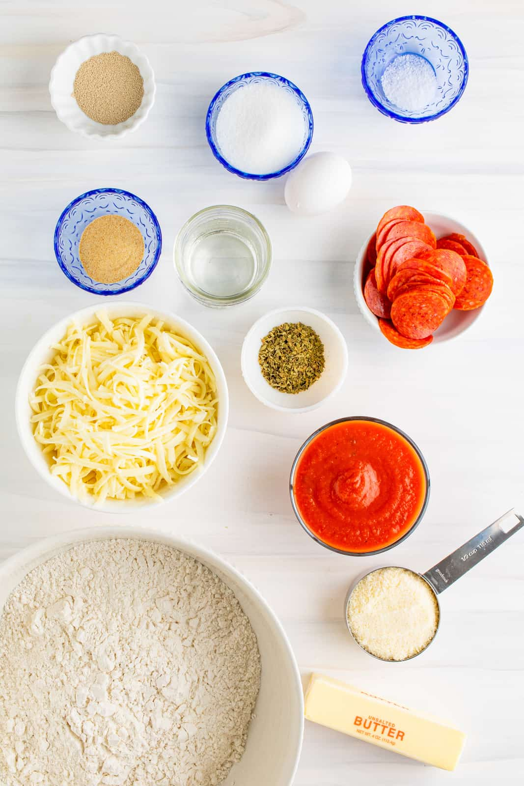 Ingredients needed to make Pepperoni Pizza Rolls