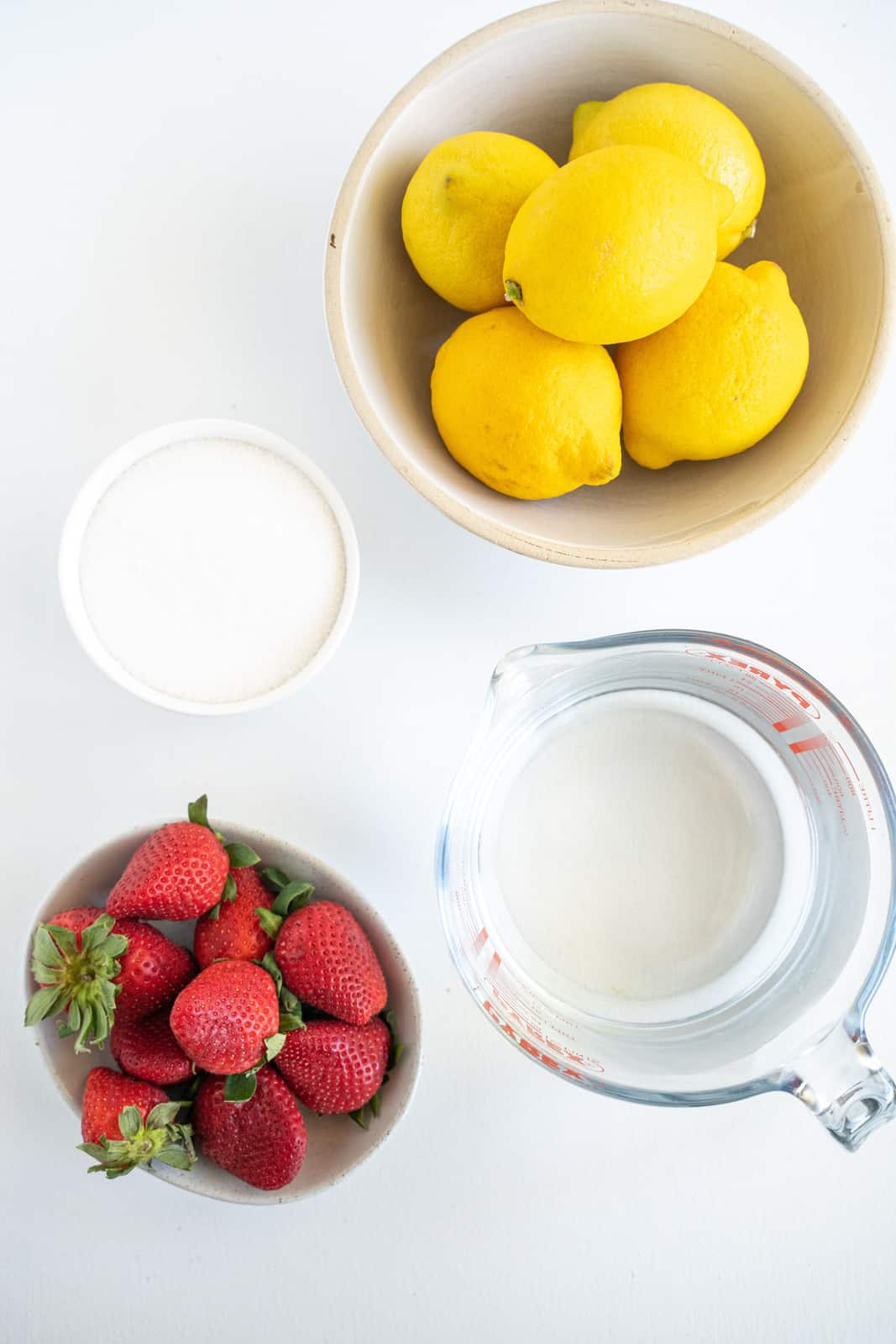 Ingredients needed to make Strawberry Lemonade