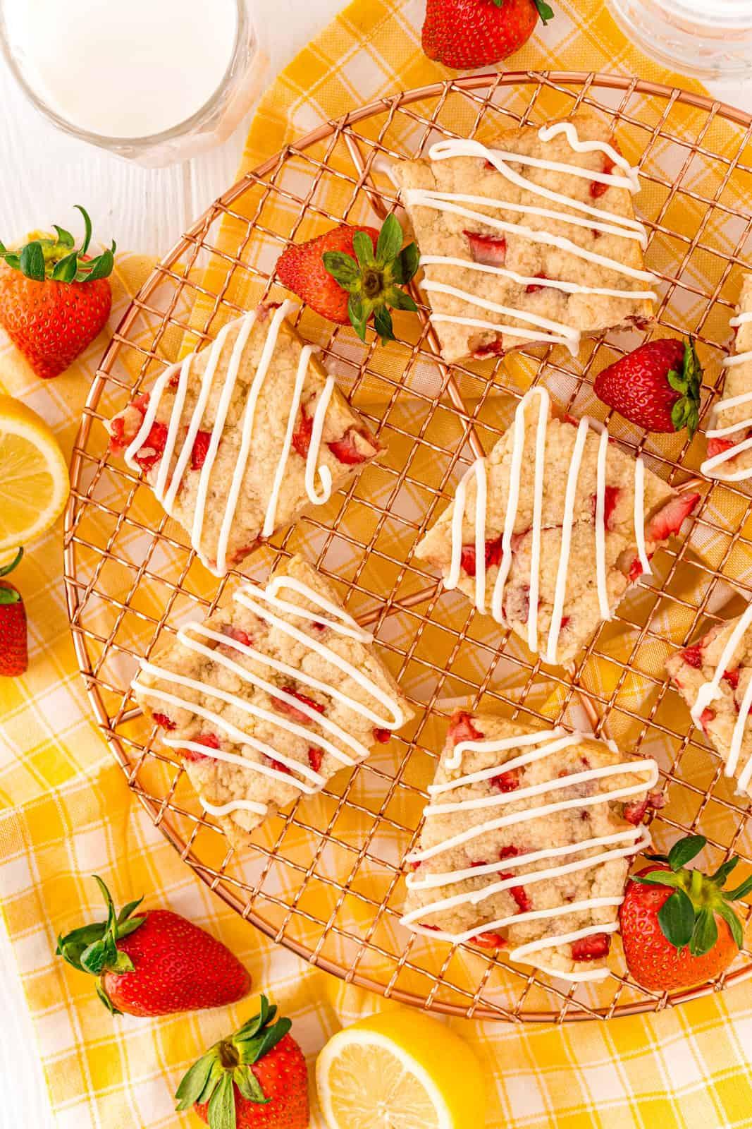 Overhead photo of Strawberry Shortcake Bar Recipe on wire rack glazed