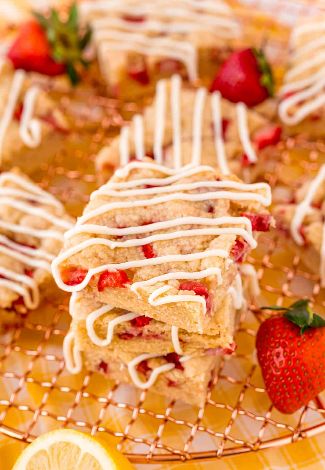 Stacked Strawberry Shortcake Bars on wire rack