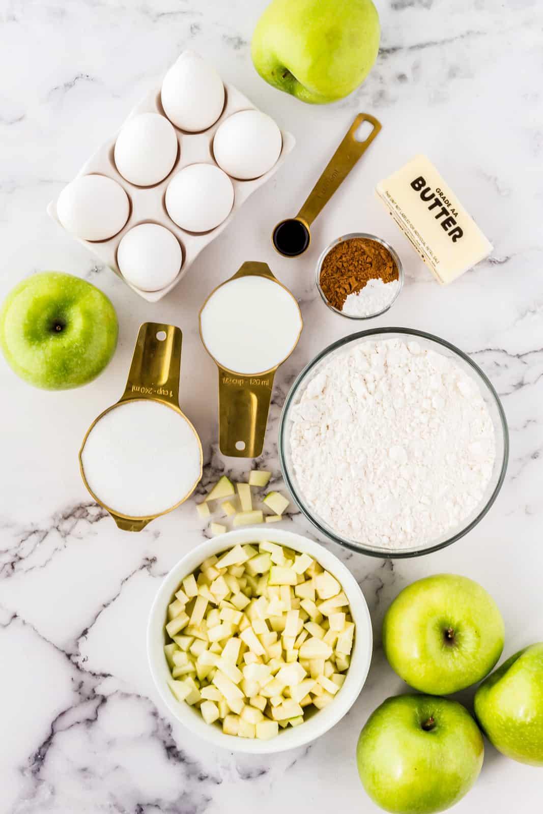 Ingredients needed to make Apple Cinnamon Muffins.