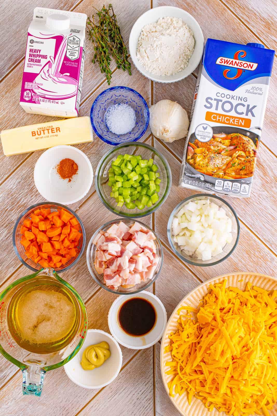 Ingredients needed too make Beer Cheese Soup