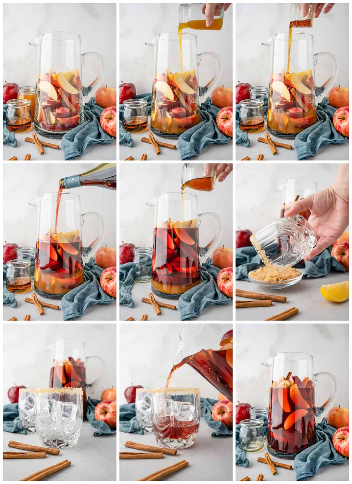 Step by step photo on how to make Apple Cider Sangria.