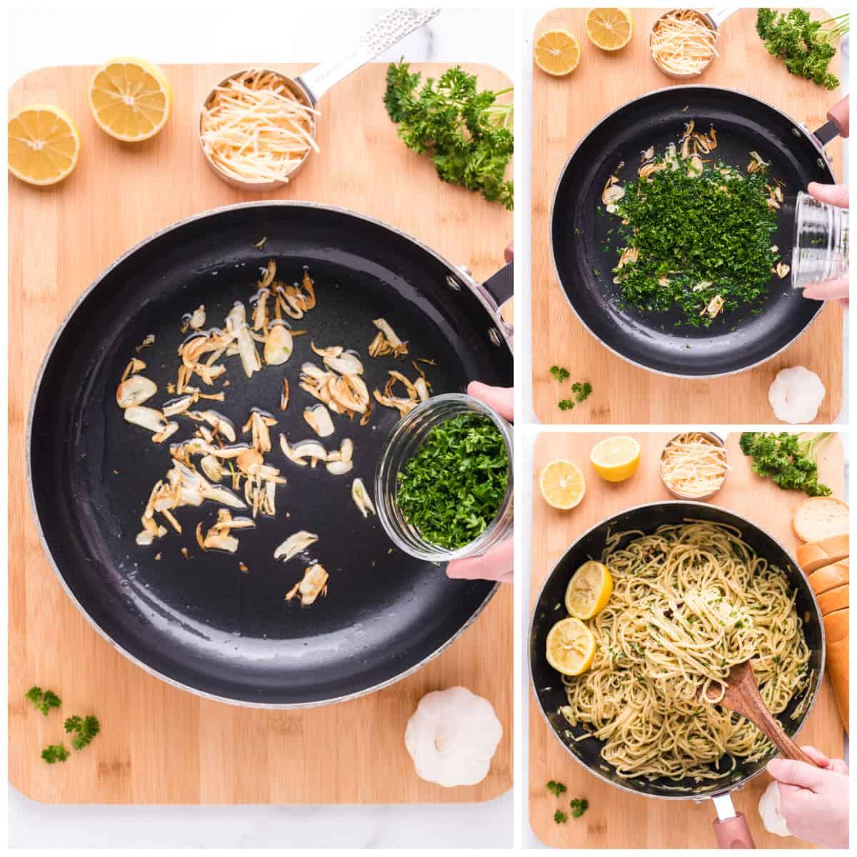 Step by step photos on how to make Spaghetti Aglio e Olio.