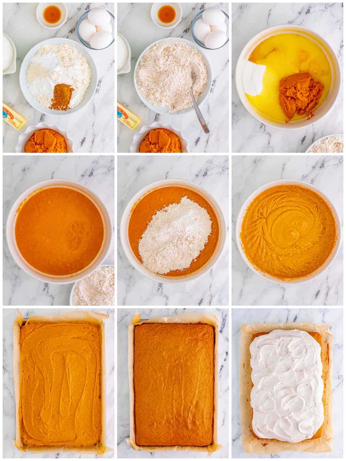 Step by step photos on how to make Pumpkin Bars