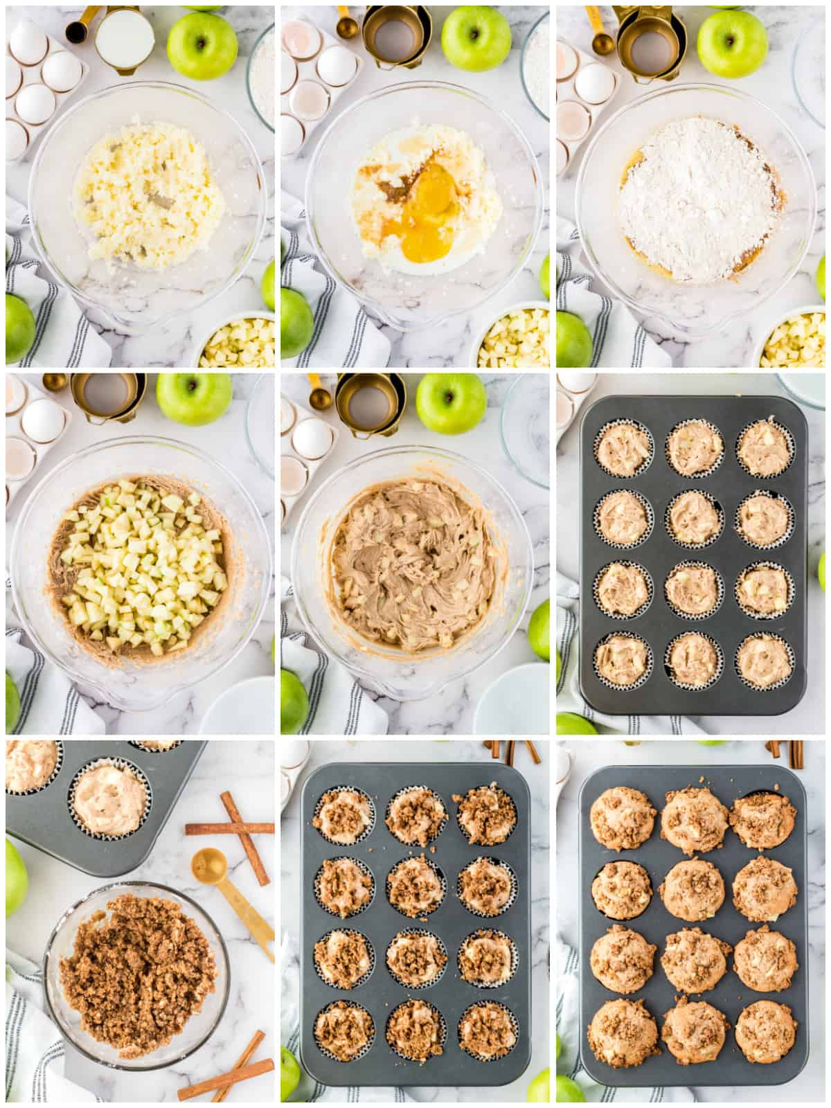 Step by step photos on how to make Apple Cinnamon Muffins.