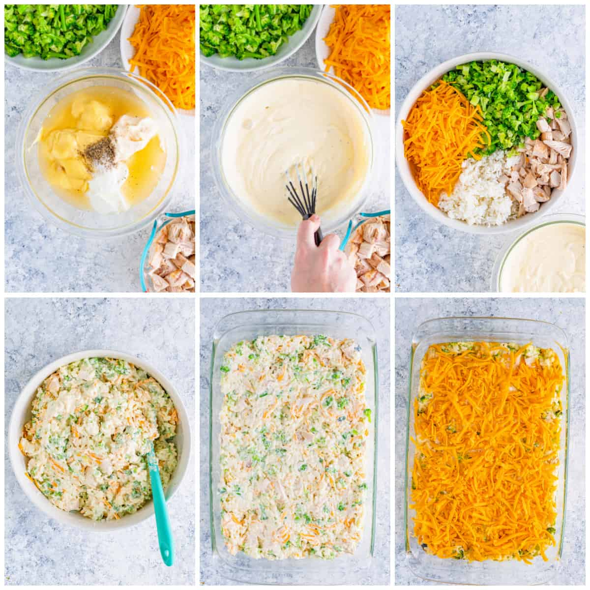 Step by step photos on how to make Chicken Broccoli Rice Casserole.