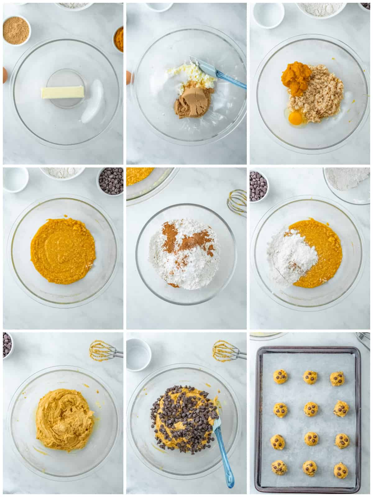 Step by step photos on how to make Pumpkin Chocolate Chip Cookies