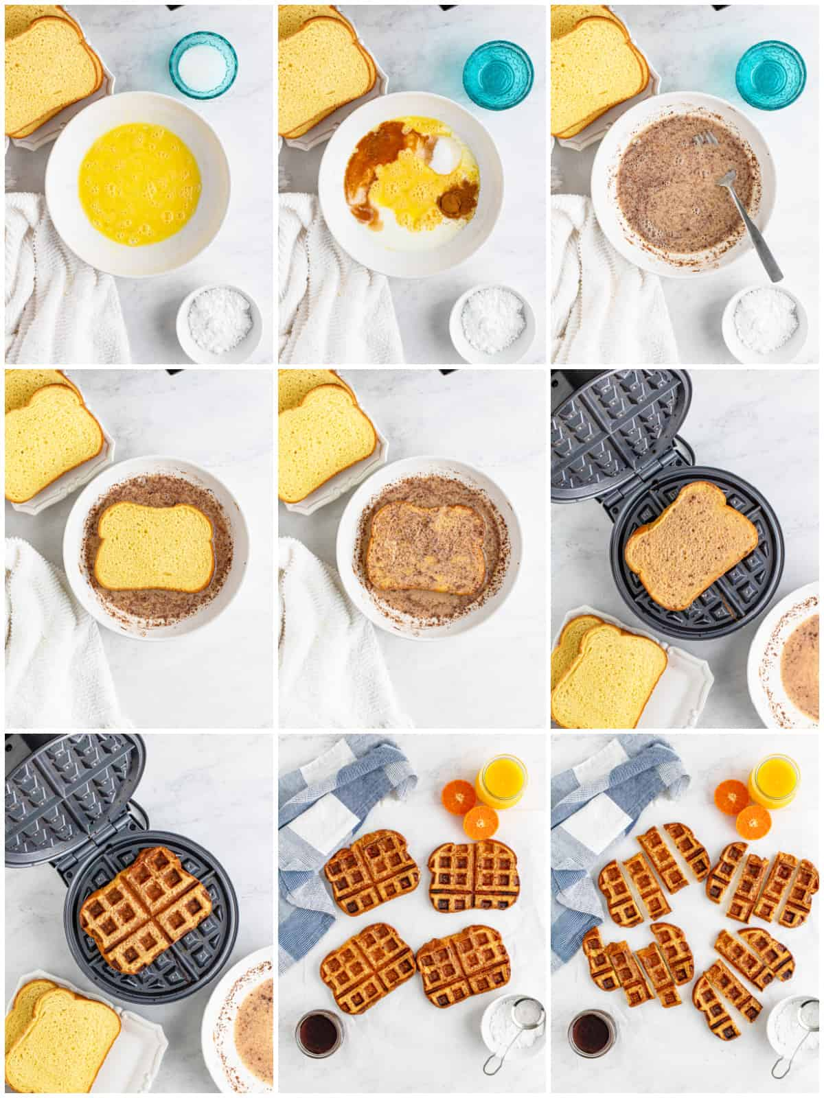 Step by step photos on how to make French Toast Waffle Sticks.