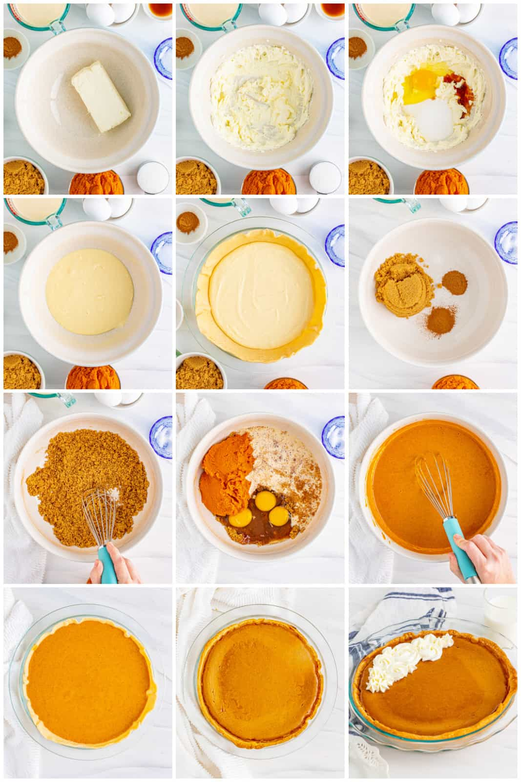 Step by step photos on how to make a Pumpkin Cheesecake Pie.