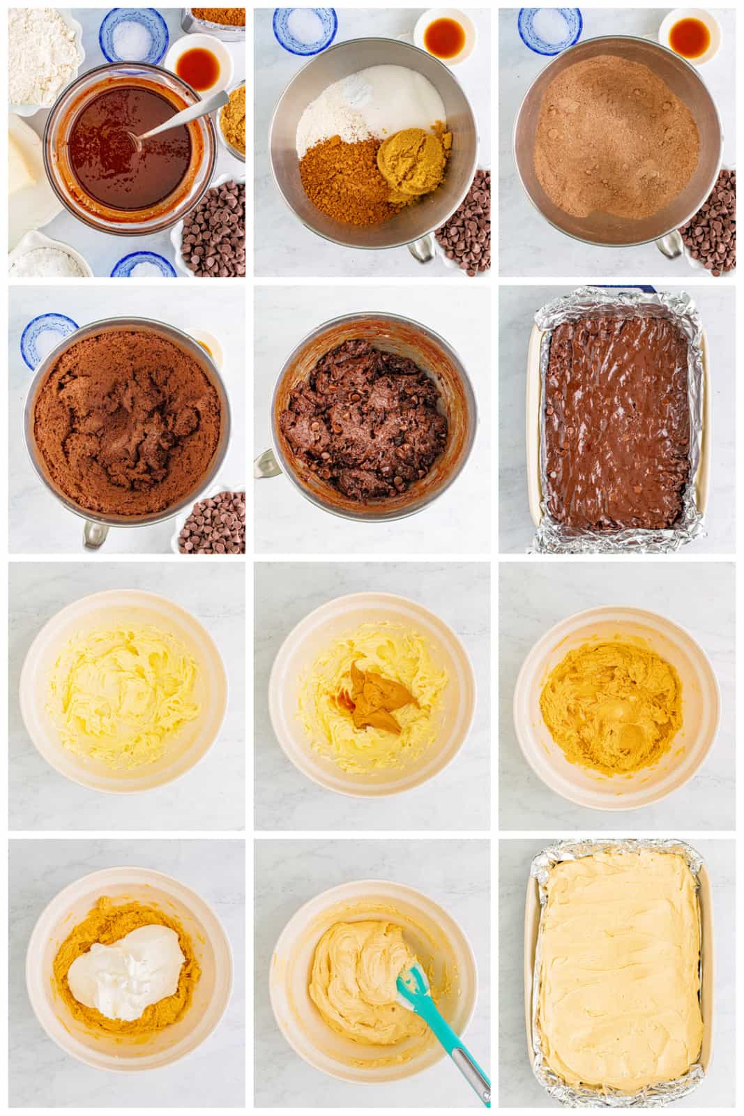 Step by step photos on how to make Silky Peanut Butter Brownies.