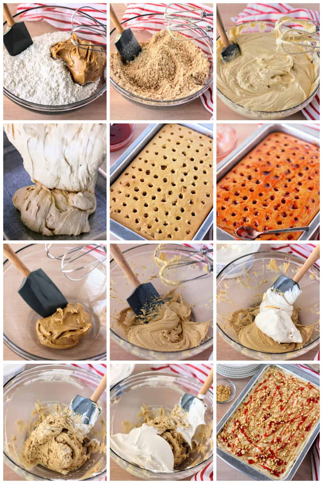 Step by step photos on how to make a Peanut Butter and Jelly Poke Cake