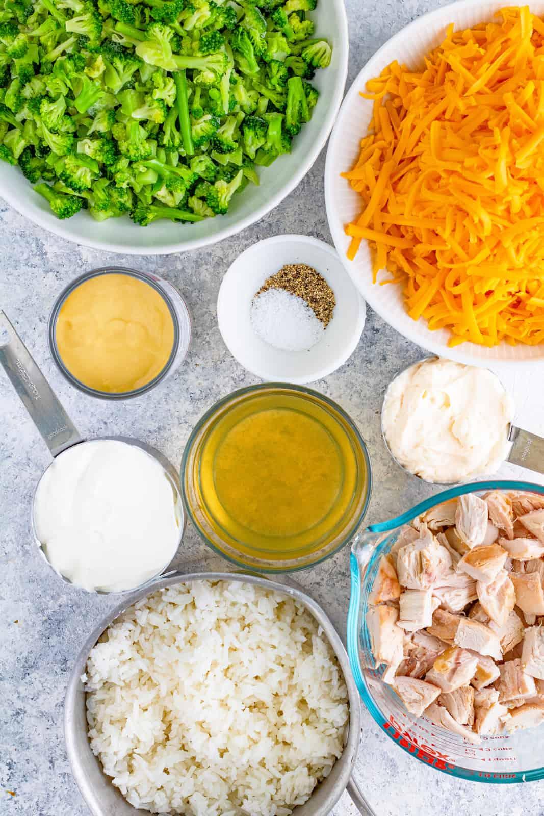 Ingredients needed to make Chicken Broccoli Rice Casserole.