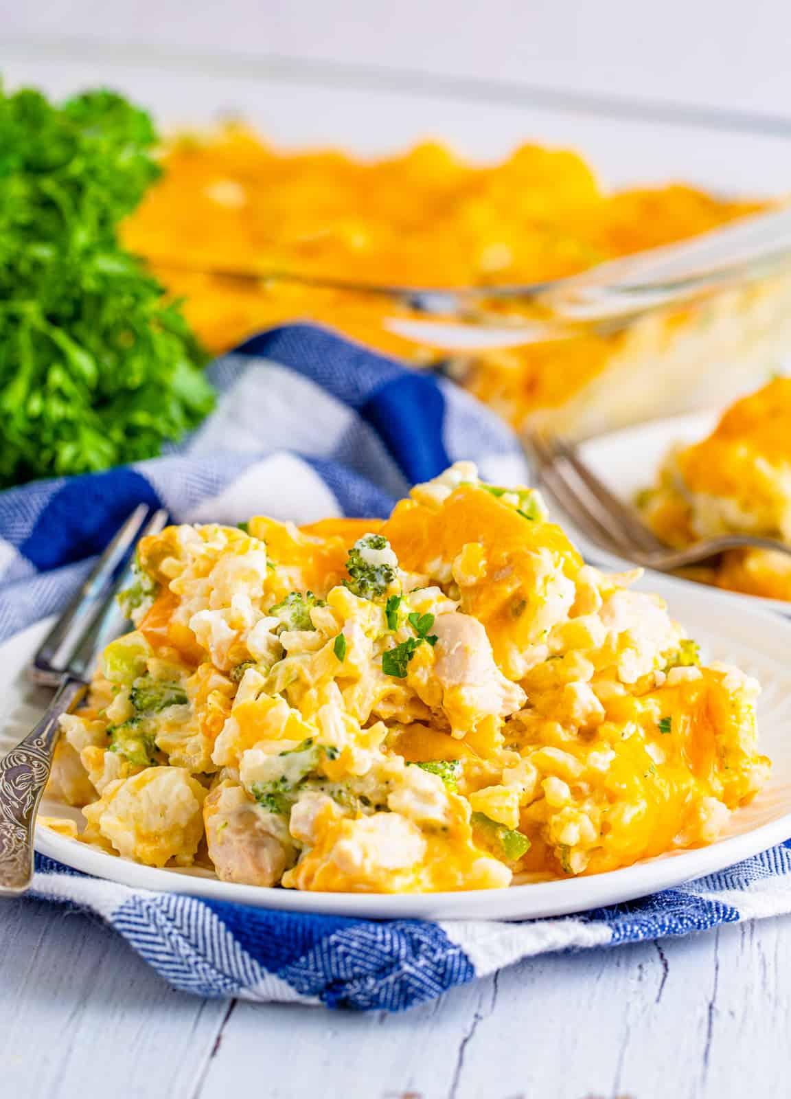 Plate of Chicken Broccoli Rice Casserole.