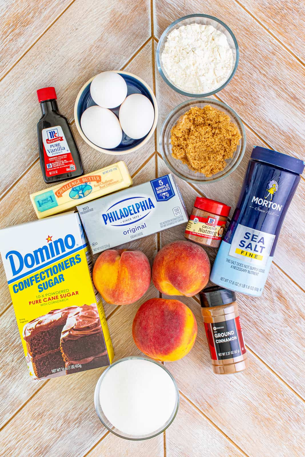Ingredients needed to make Peach Cobbler Cheesecake Bars