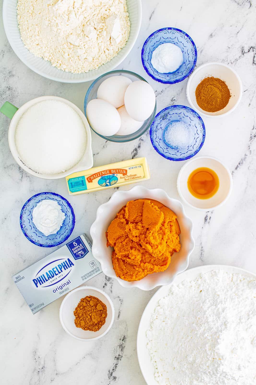 Ingredients needed to make Pumpkin Bars