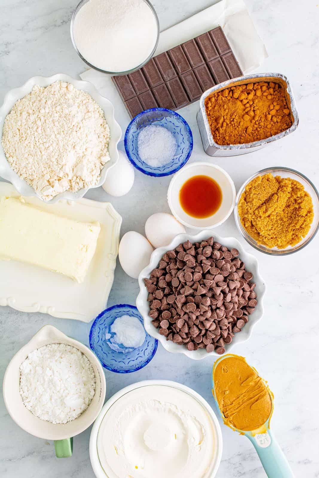 Ingredients needed to make Peanut Butter Brownies.