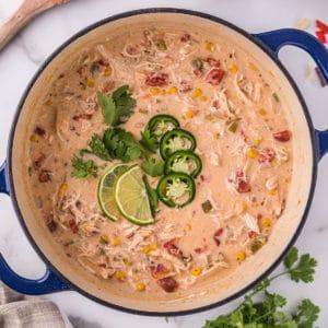 Square image of pot of White Chicken Chilli