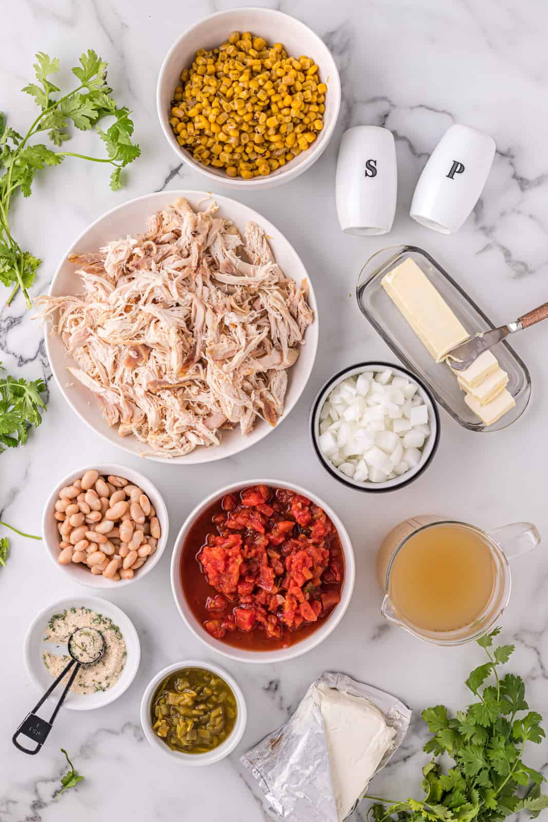 Ingredients needed to make a White Chicken Chili Recipe.
