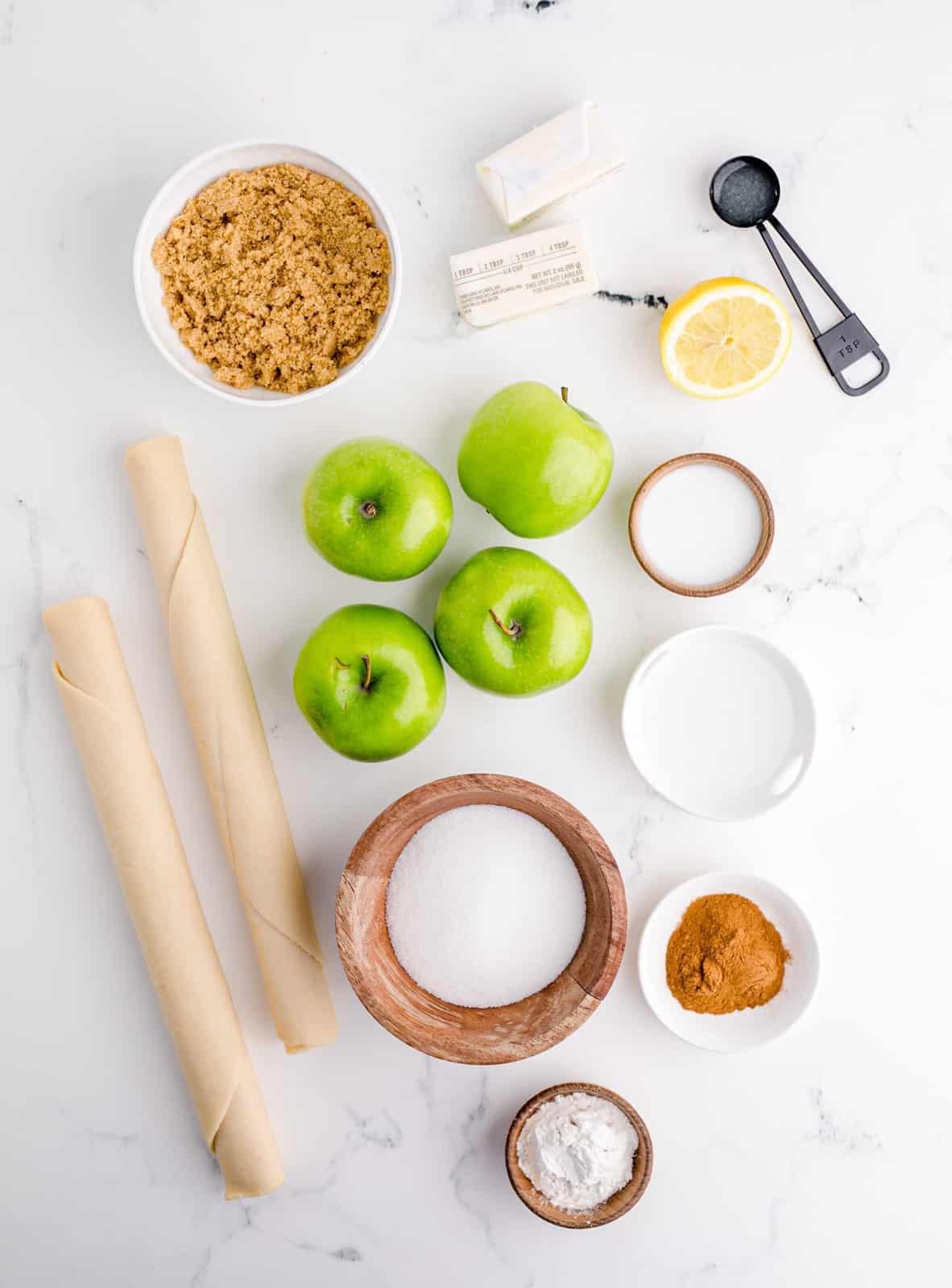 Ingredients needed to make Apple Pie.
