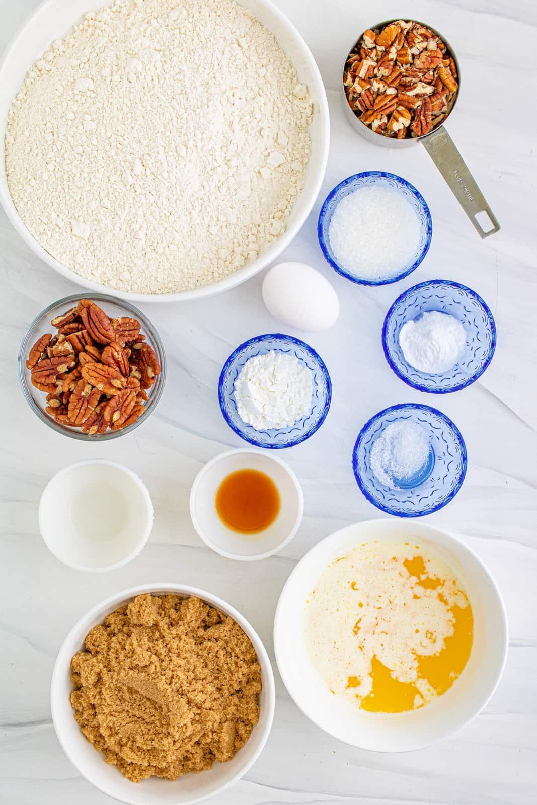 Ingredients needed to make Butter Pecan Cookies.