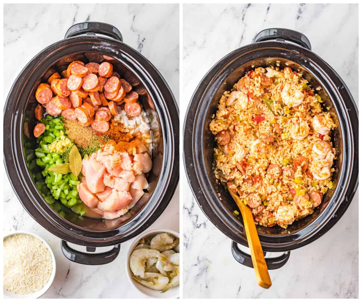 Step by step photos on how to make Slow Cooker Jambalaya