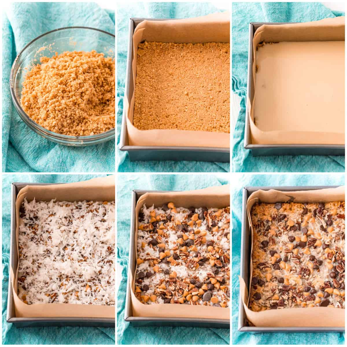 Step by step photos on how to make Hello Dolly Bars