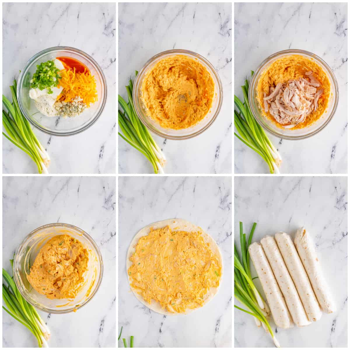 Step by step photos on how to make Buffalo Chicken Pinwhels