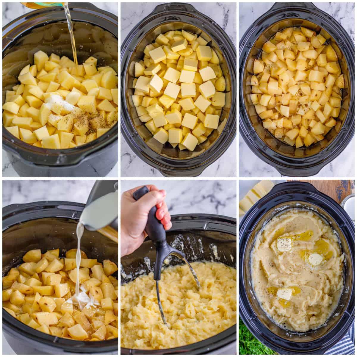 Step by step photos on how to make Crockpot Mashed Potatoes