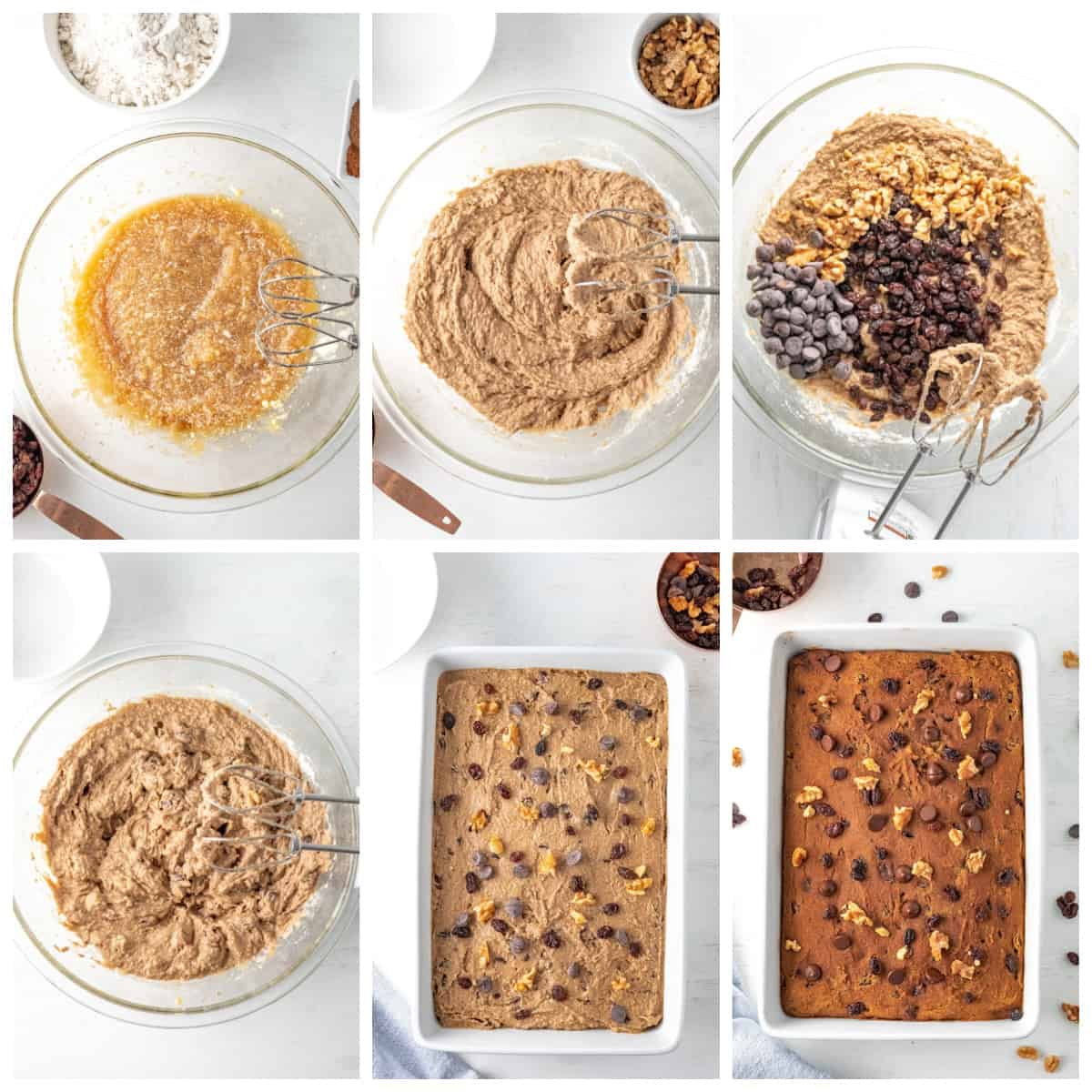 Step by step photos on how to make a Vintage Chocolate Chip Applesauce Cake.