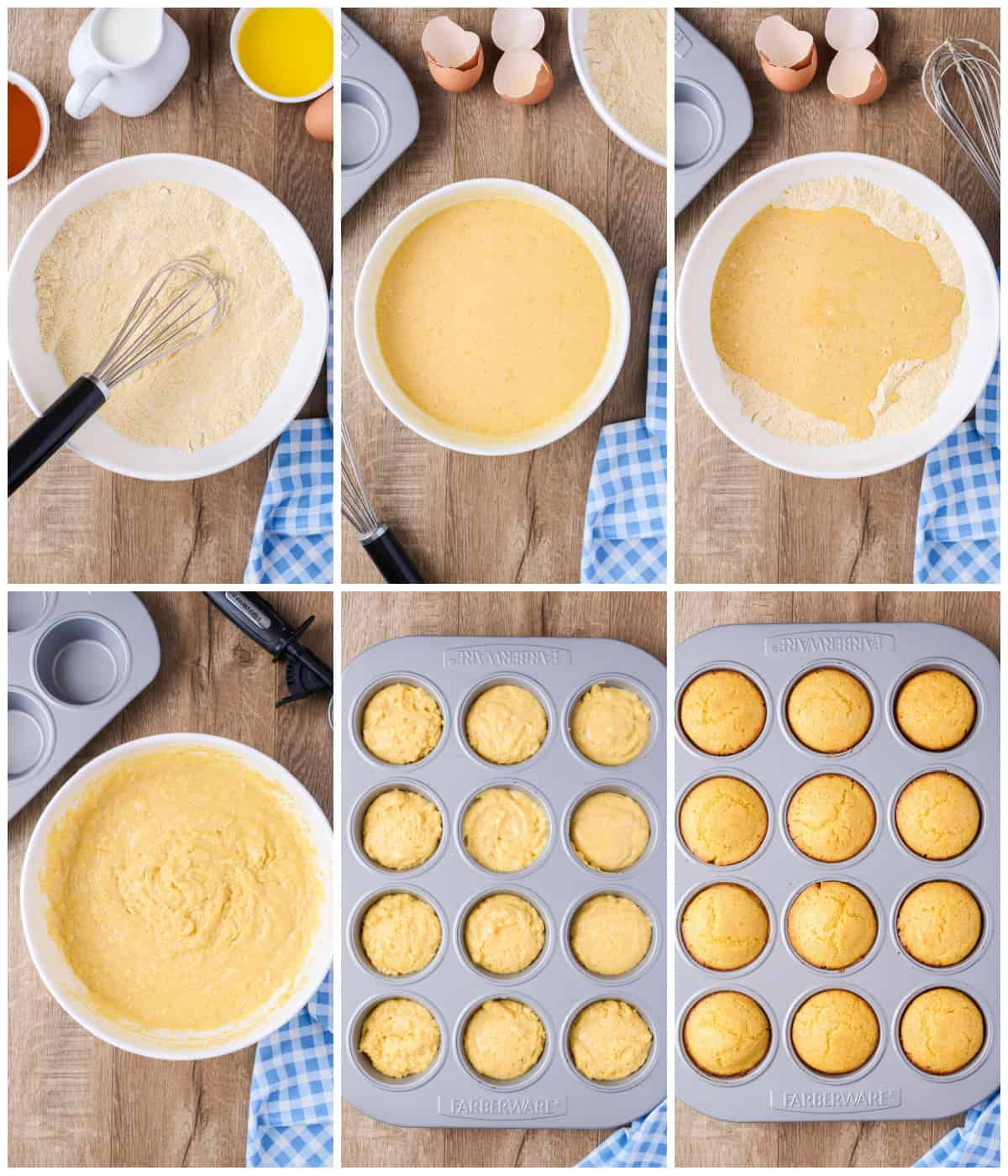 Step by step photos on how to make Cornbread Muffins