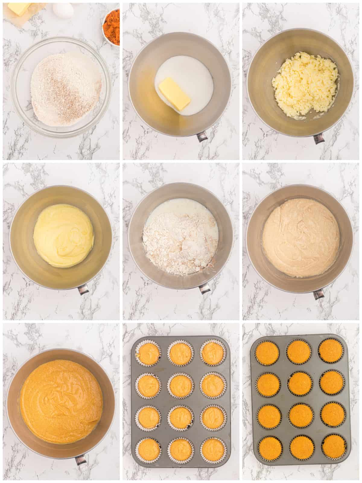 Step by step photos on how to make Pumpkin Cupcakes.