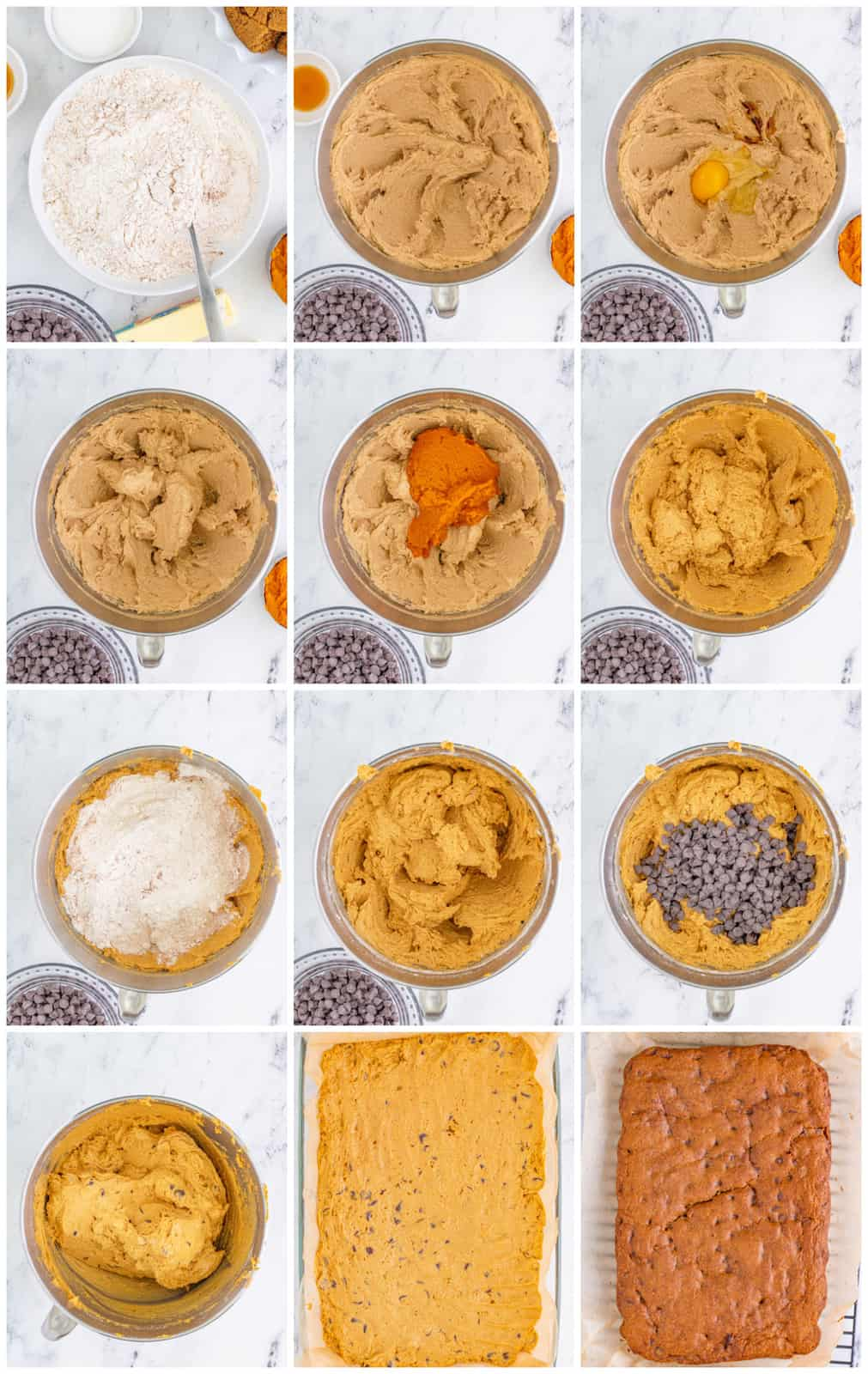 Step by step photos on how to make Pumpkin Blondies