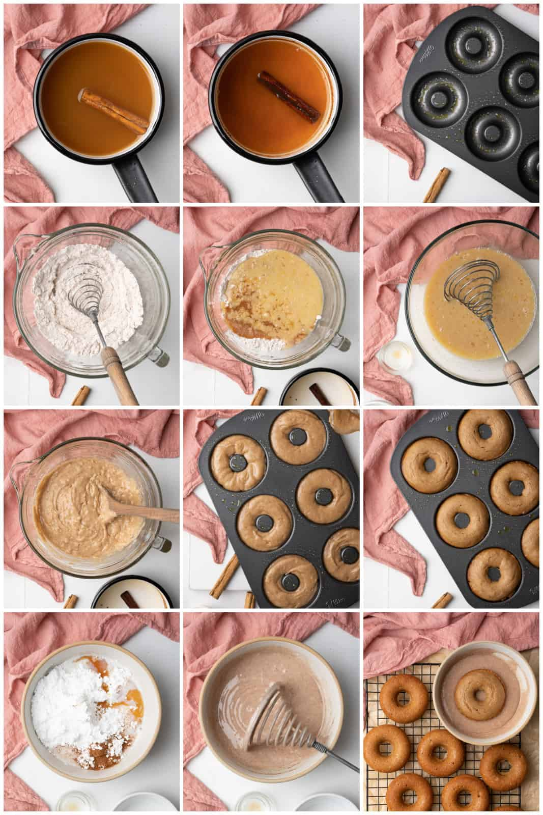 Step by step photos on how to make Apple Cider Donuts