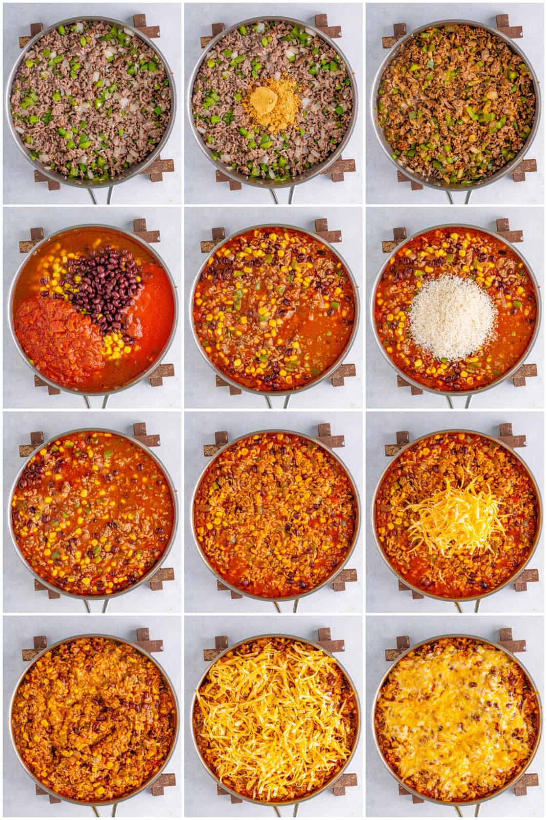 Step by step photos on how to make Mexican Rice Casserole.