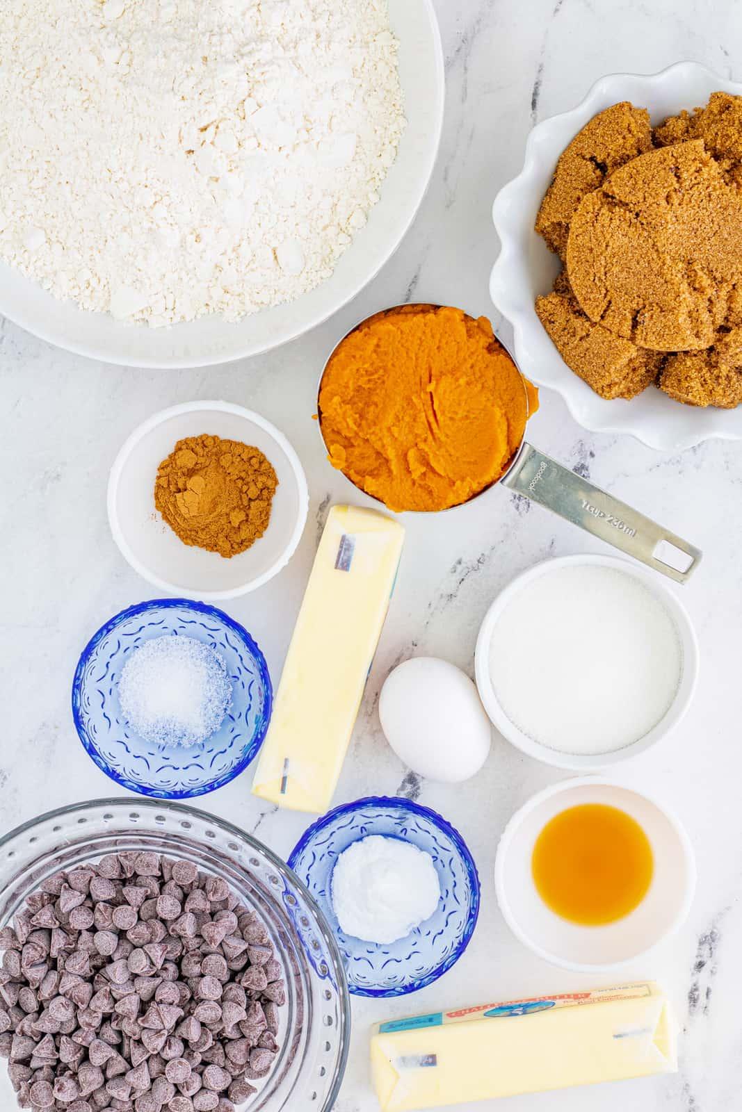 Ingredients needed to make Pumpkin Blondies