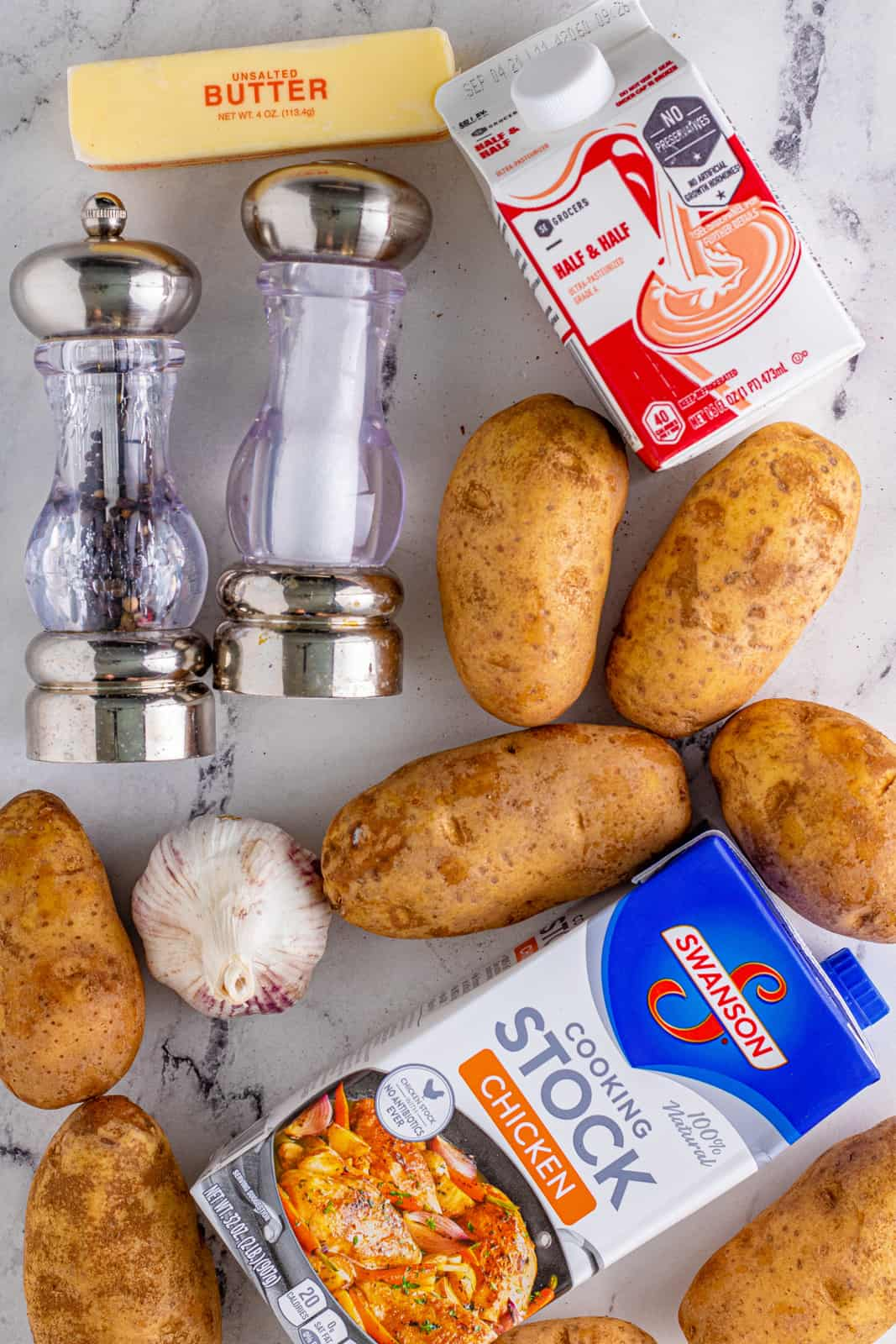 Ingredients needed to make Crockpot Mashed Potatoes