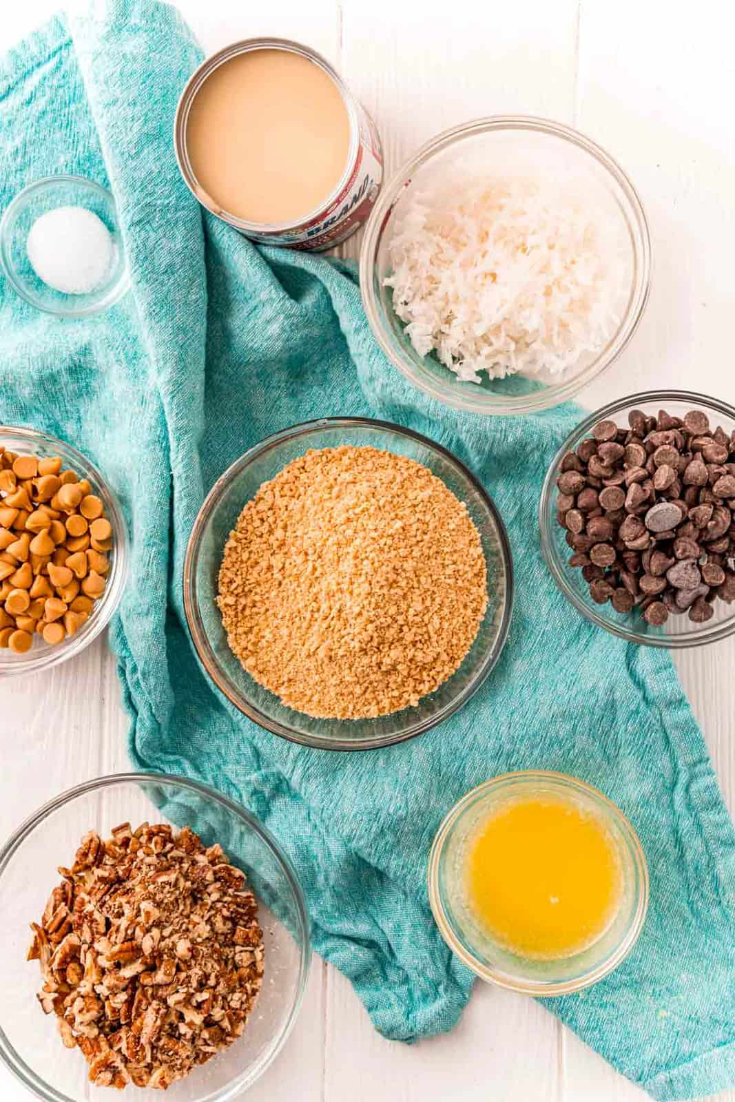 Ingredients needed to make Hello Dolly Bars