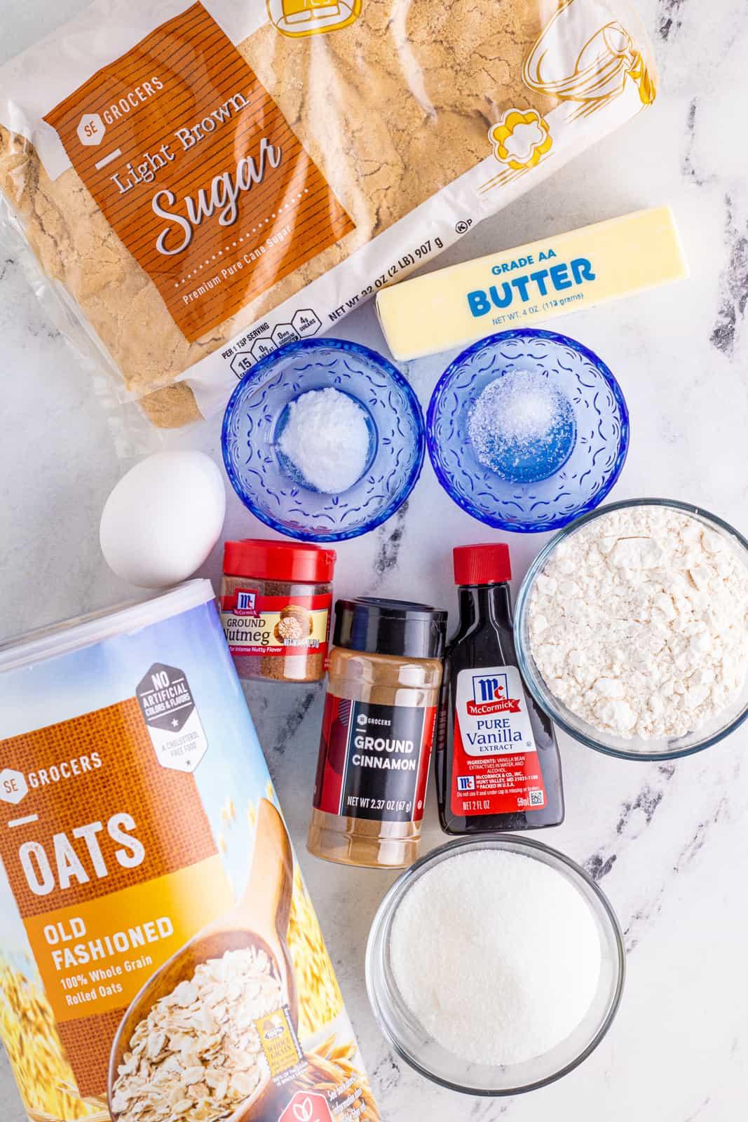 Ingrerdients needed to make Iced Oatmeal Cookies.