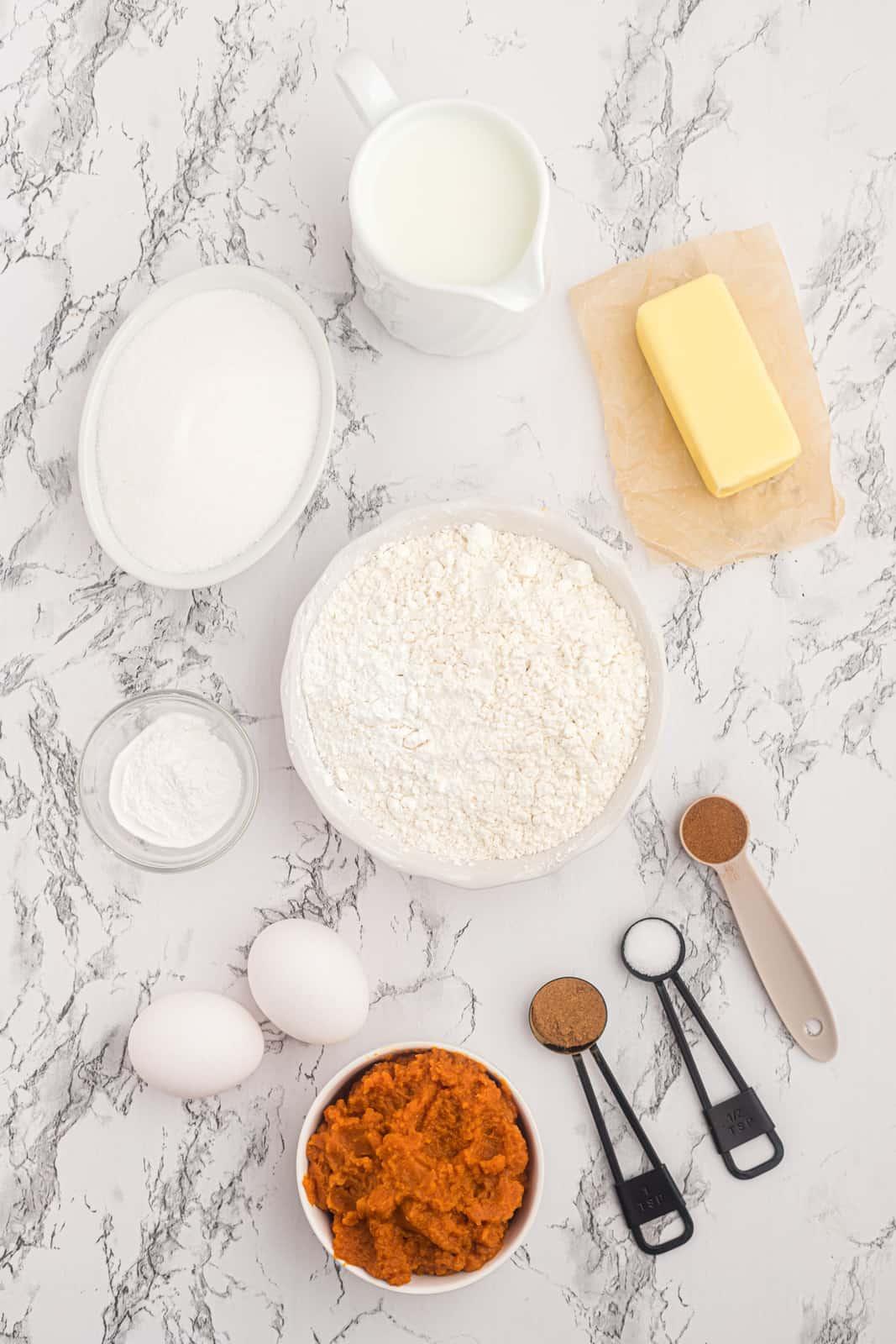 Ingredients needed to make Pumpkin Cupcakes