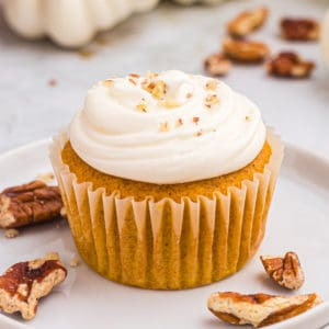 Close up square image of cupcake on white plate with chopped nuts.