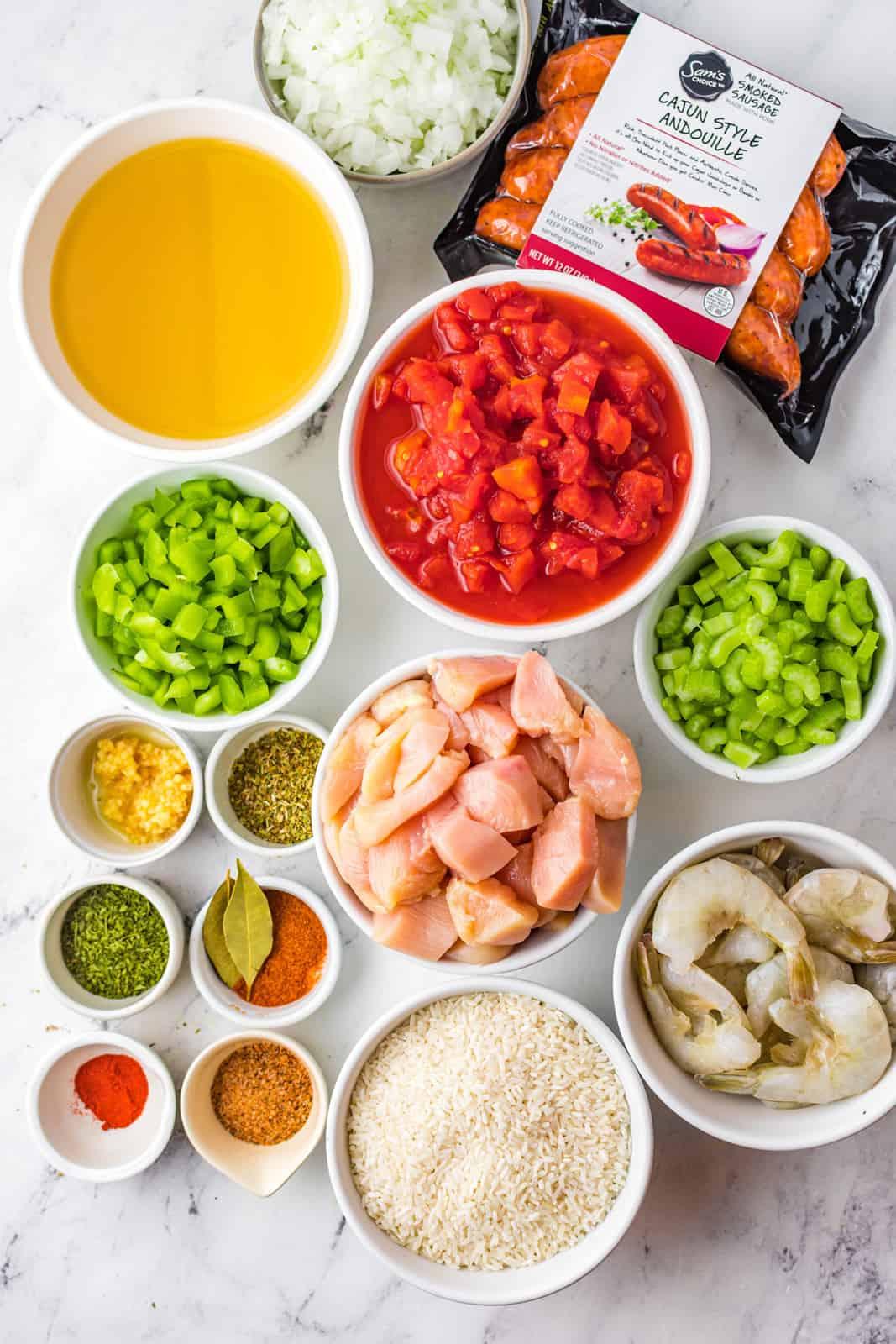 Ingredients needed to make Slow Cooker Jambalaya.