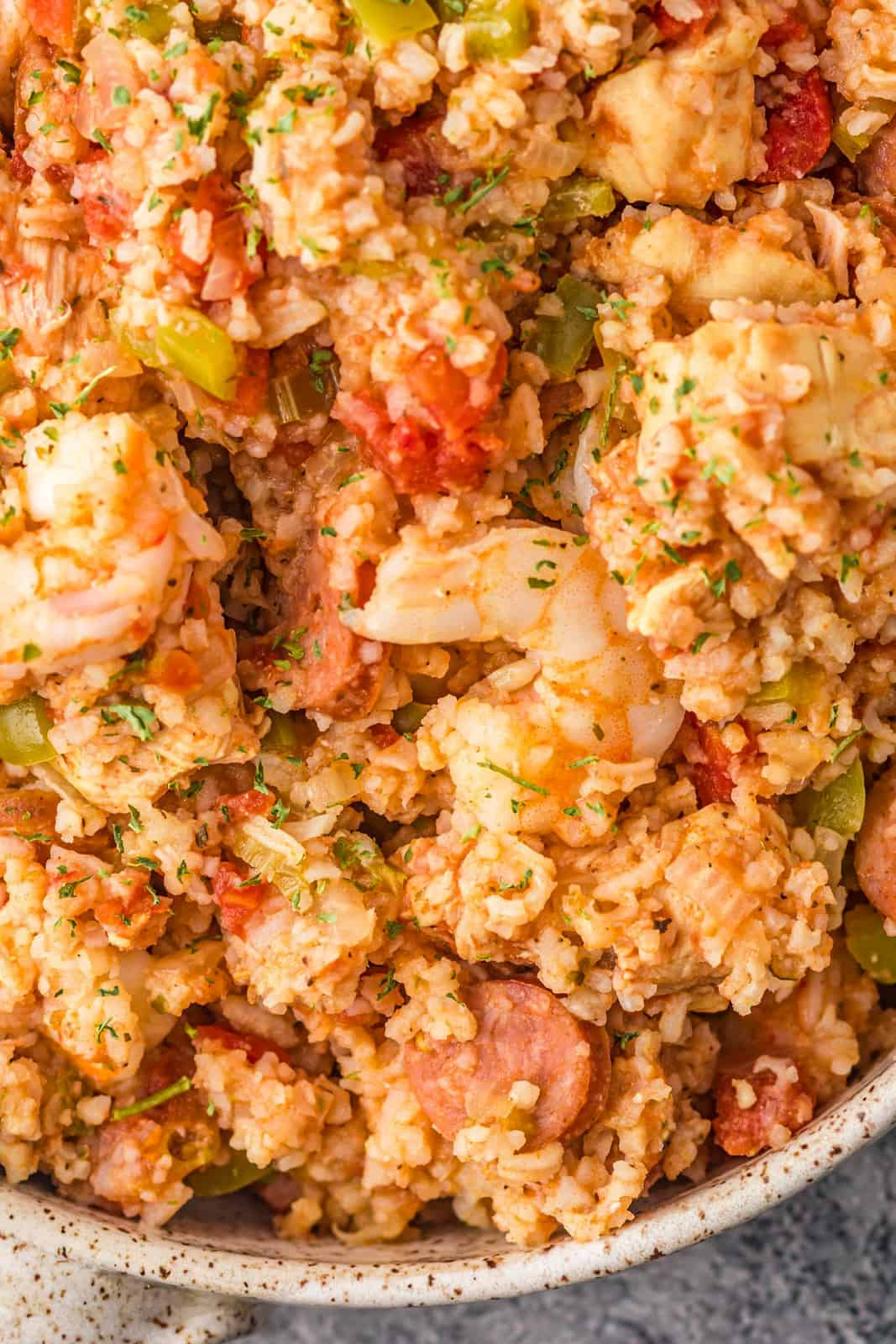 Overhead close up of finished Slow Cooker Jambalaya in bowl.