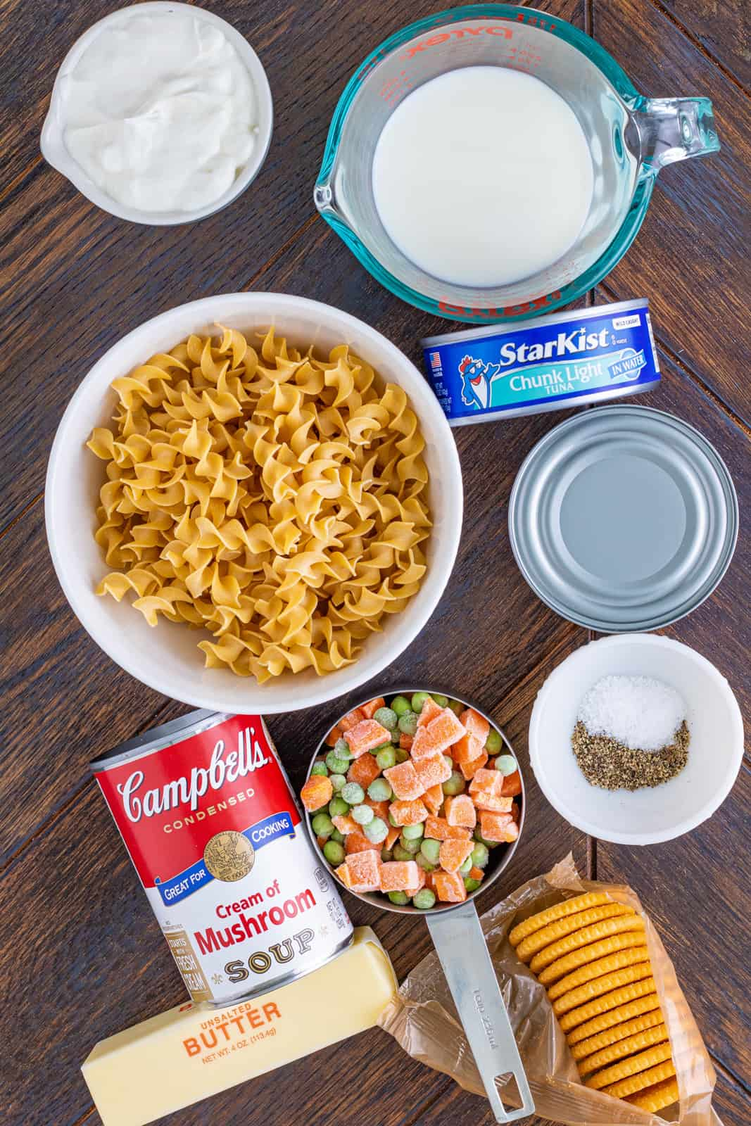 Ingredients needed to make Tuna Noodle Casserole.